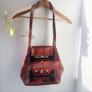 Vintage Tapestry Leather Shoulder Bag